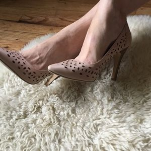 Restricted Nude Cut Out Wood Heeled Pump